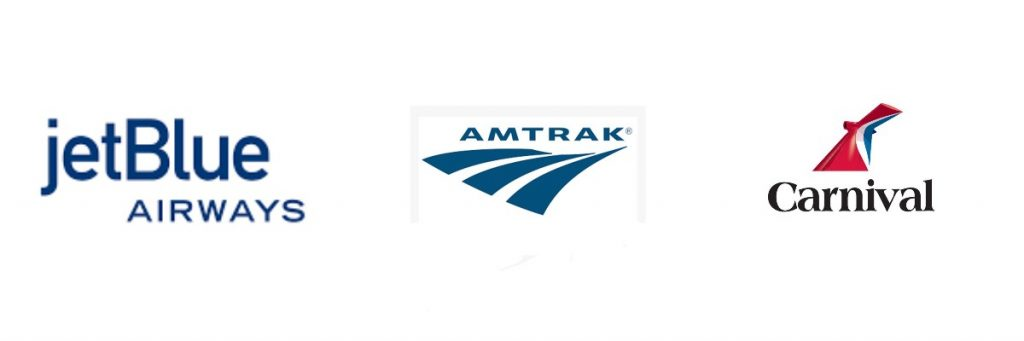 Jet Blue Airlines, Amtrak Train Service, Carnival Cruise Lines